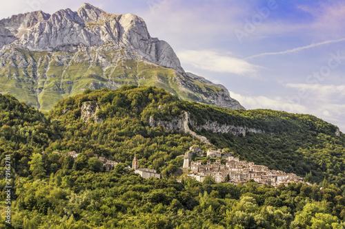 In de dag Rudnes Pietracamela, an Old Town situated in the Monti della Laga - Gran Sasso - Italy With Background of Corno Piccolo and Corno Grande