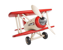 Wooden Toy Airplane 3D Render Illustration Isolated On White Background