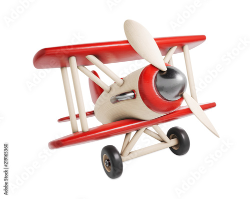 Obraz Wooden toy airplane 3D render illustration isolated on white background - fototapety do salonu