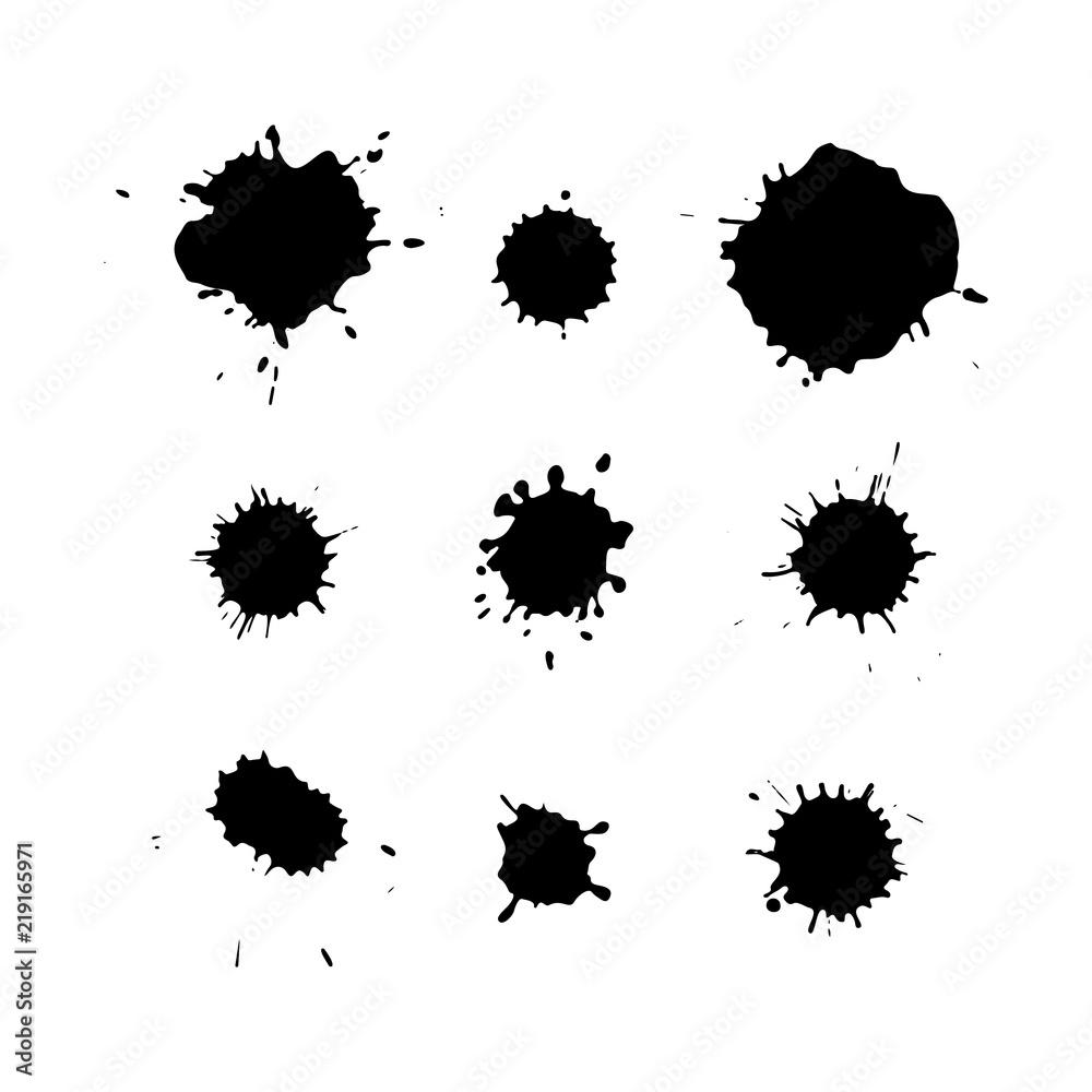 Fototapeta Black ink blots isolated on white background. Splashes texture.