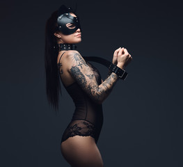 Sexy woman wearing black li...