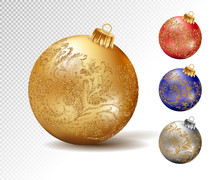 Colorful Christmas Balls. Set Of Isolated Realistic Decorations. Vector Illustration.