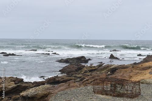 Spoed Foto op Canvas Noordzee Olas peligrosas en la costas de Baja California Sur Mexico.