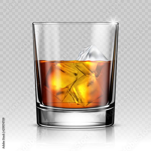 Glass of whiskey with ice isolated on transparent background Wallpaper Mural
