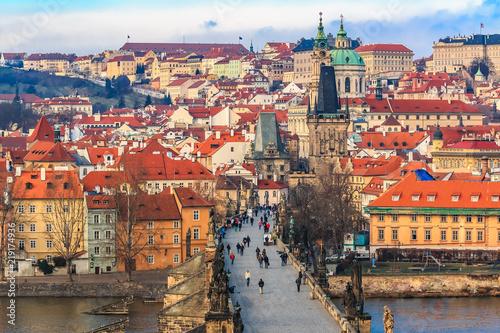 Tuinposter Athene View onto Prague Castle from Charles Bridge