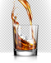 Whiskey Splash Out Of Glass Is...