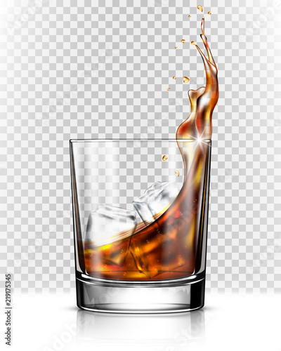 Leinwand Poster Whiskey splash out of glass isolated on transparent background