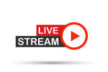 Live Stream Flat Logo - Red Ve...