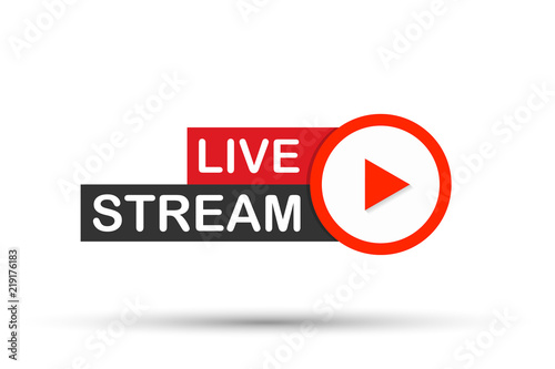 Fototapeta Live stream flat logo - red vector design element with play button. Vector illustration obraz