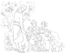 Jesus With Children. Coloring ...