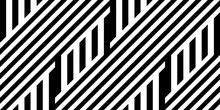 Seamless Pattern With Striped Black White Straight Lines And Diagonal Inclined Lines (zigzag, Chevron). Optical Illusion Effect, Op Art. Vector Vibrant Decorative Background, Texture.