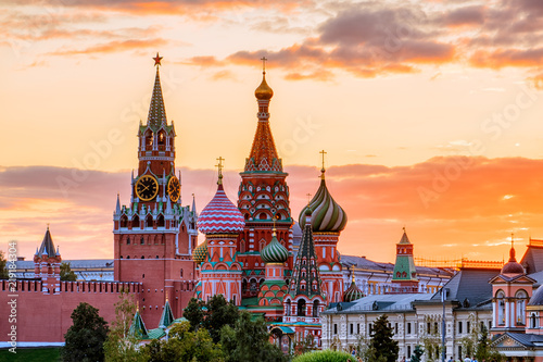 Poster Moscow St. Basil's Cathedral and the Spassky Tower of the Moscow Kremli
