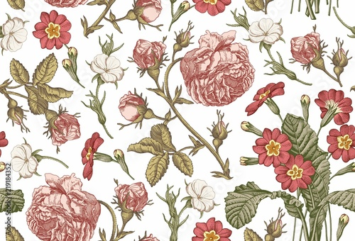 Seamless Pattern Beautiful Pink Blooming Realistic Isolated