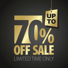 70 Percent Off Sale Discount Limited Time Gold Black Background