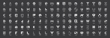 Abstract Logos Mega Collection With Letters. Isolated On Black Background
