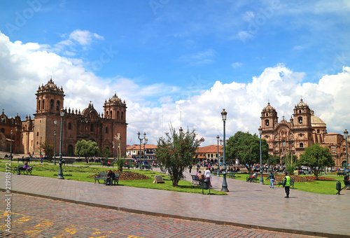 Spoed Foto op Canvas Zuid-Amerika land Cusco Cathedral and the Iglesia de la Compania de Jesus on the Plaza de Armas in Cusco, Peru, South America