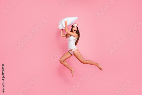 Obraz na płótnie Wake up Full length size body young gorgeous smiling crazy lady