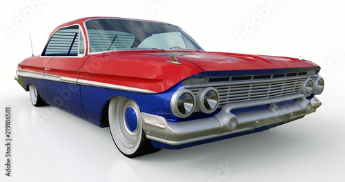 Stampa su Tela  Old American car in excellent condition. 3d rendering.