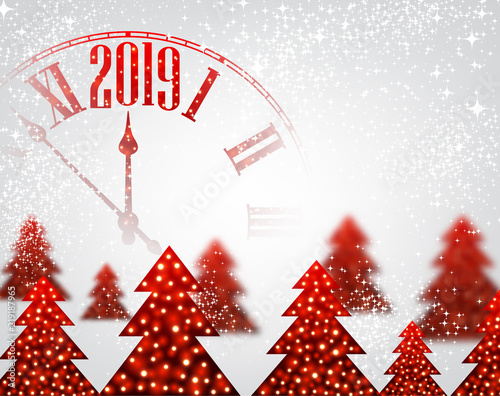 white 2019 new year background with clock and christmas trees
