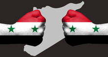 Flag Of Syria Painted On Two C...