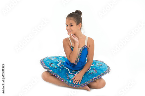 Kid blue dress with ballet skirt white background isolated. Child flexible pupil practice dancing. Child tender dancer look gorgeous fancy leotard. Dream of every girl to become famous ballet dancer