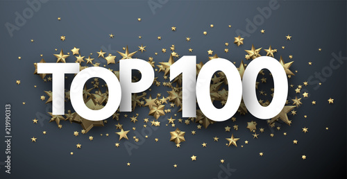 Fotomural  Top 100 sign with gold stars. Rating header.