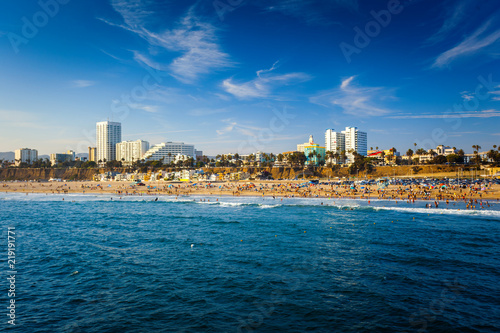 Santa Monica beach with building and Pacific ocean