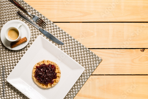 Papel de parede Waffle with blueberry and coffee - breakfast