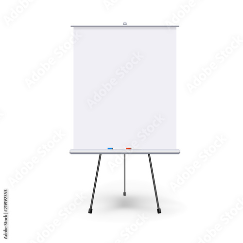 Photo  Vector realistic blank flipchart with three legs isolated on white clean background