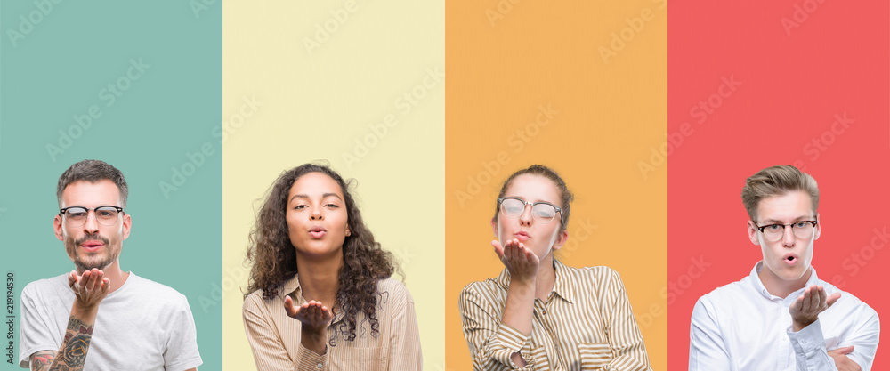 Fototapety, obrazy: Collage of a group of people isolated over colorful background looking at the camera blowing a kiss with hand on air being lovely and sexy. Love expression.