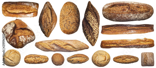 Fotografie, Obraz From above of assorted composition of various bread loaves and buns and baguette