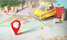 Taxi Concept. Yellow Taxi With Pin On A City Map With Blur. 3d Illustration