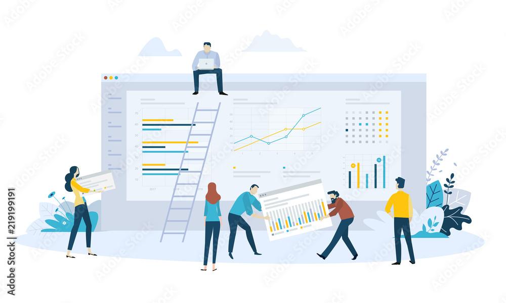 Fototapeta Vector illustration concept of business management software, statistics, trends and productivity, app development, data analysis.