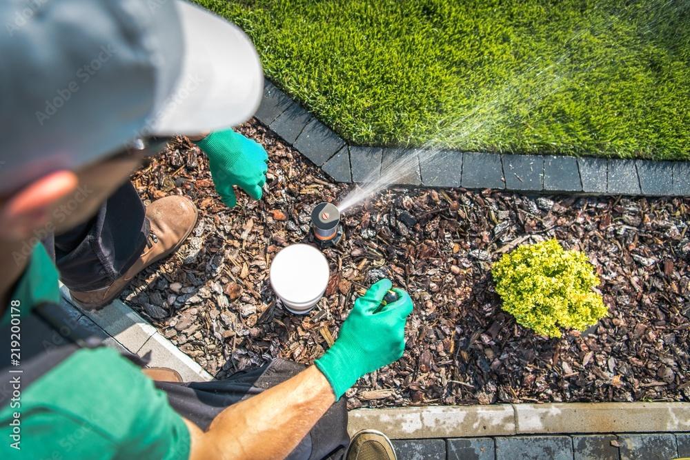 Fototapety, obrazy: Adjusting Lawn Sprinkler