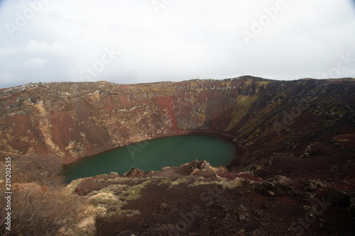 Crater with water in Iceland