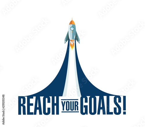 reach your goals rocket smoke message Wallpaper Mural