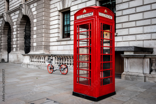 Red Telephone Box and Red Bicycle in London Canvas Print