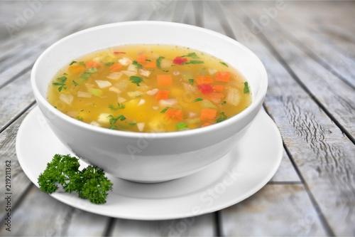 Obraz na płótnie Vegetable soup on table