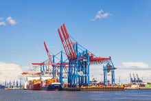 Port Of Hamburg On The River Elbe, Germany