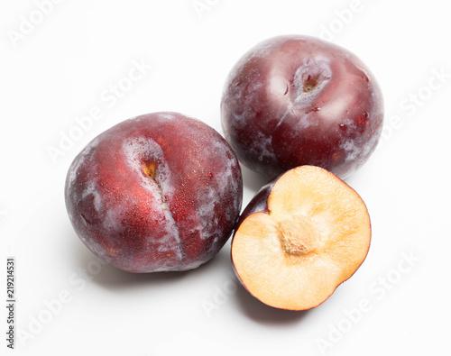 red plum fruit isolated on white Wallpaper Mural