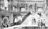 Marmurowe schody w zamku w Wersalu, vintage grawerowanie. - 219217566