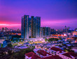 canvas print picture - BANGKOK: August 22, 2018, at the corner of the sky The view of the capital (Rama). 3, Sathorn, Thonburi) is a rare light in the rainy season, Thailand.
