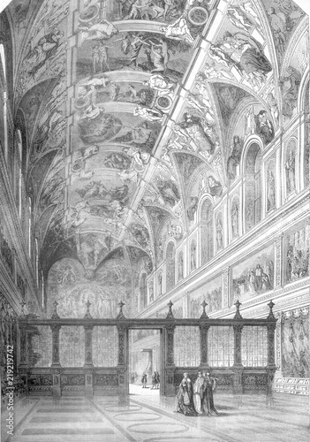 Foto View of the Sistine Chapel, and after a drawing by Francois Pannini, retains the Louvre, vintage engraving