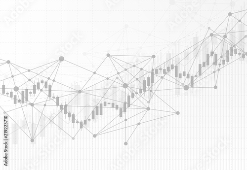 Leinwand Poster Business candle stick graph chart of stock market investment trading on white background design