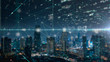 canvas print picture blurred Night cityscape bouble exposure of Futuristic computer digital Abstract ,cyber space technology background concept