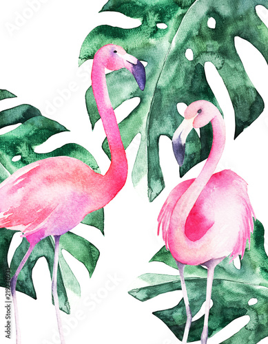 flamingi-i-tropikalne-rosliny