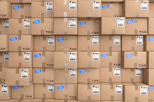 Logistics Concept. Stack Of Rows Cardboard Boxes In Warehouse. 3d Rendering
