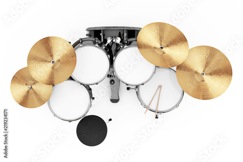 Professional Rock Black Drum Kit. 3d Rendering Fototapete