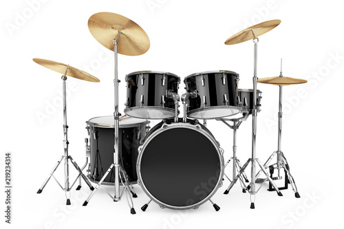 Leinwand Poster Professional Rock Black Drum Kit. 3d Rendering