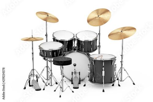 Fotomural Professional Rock Black Drum Kit. 3d Rendering